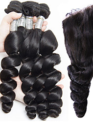 Loose wave With Closure Hair 4 Bundles With Ear to Ear Lace Closure Brazilian Human Hair Extensions Loose Wave Curly With Closure