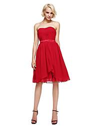 A-Line Strapless Knee Length Chiffon Bridesmaid Dress with Sash / Ribbon Side Draping by LAN TING BRIDE®