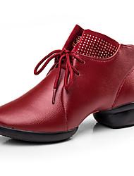 Sapatos de Dança(Preto Vermelho) -Feminino-Personalizável-Balé
