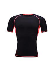 Unisex Short Sleeve Running T-shirt Tops Breathable Sweat-wicking Comfortable Summer Sports Wear Running LYCRA® Slim Black Solid