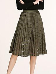 Damen Röcke,Schaukel einfarbig Tüll Spitze,Ausgehen Urlaub Einfach Street Schick Hohe Hüfthöhe Knielänge Elastizität Polyester