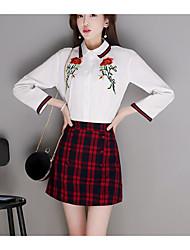 Women's Going out Simple Spring Fall Shirt Skirt Suits,Plaid Shirt Collar Long Sleeve Polyester Regular