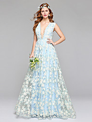 Lanting Bride® A-line Wedding Dress Wedding Dress in Color Floor-length V-neck Lace Tulle with Lace