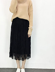 Sign hollow lace half-length pleated skirt long section of the new Korean waist A word big swing skirts