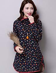 Women's Casual/Daily Chinoiserie Loose Dress,Floral Print Turtleneck Above Knee Long Sleeve Blue Black Cotton Fall Winter Mid Rise