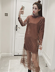 Sign fall and winter long section of retro fashion plush net yarn splicing long-sleeved dress bottoming