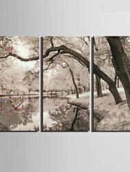 Модерн Прочее Настенные часы,Прямоугольный Холст 30 x 60cm(12inchx24inch)x3pcs/ 40 x 80cm(16inchx32inch)x3pcs В помещении Часы