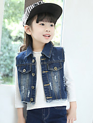 Girl's Fashion Cool Vintage Style Going out Casual/Daily Holiday Spring/Fall Cotton Patchwork Children Edging Cowboy Vest