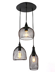 Vintage Simplicity Black Metal Nets Shade Living Room Dining Room pendant lights 3 lights Painted Finish