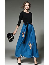 Gaine Robe Femme Vacances Plage Sexy,Couleur Pleine Col Arrondi Midi ½ Manches Bleu Rayonne Printemps Automne Taille Haute Micro-élastique