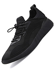 Femme-Sport-Noir Noir blanc-Talon Plat-Confort-Chaussures d'Athlétisme-Tissu