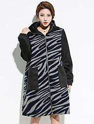 Damen Einfarbig Einfach Ausgehen Trench Coat,Herbst Winter Mit Kapuze Langarm Auf Links waschen Trocknen Standard Baumwolle Polyester