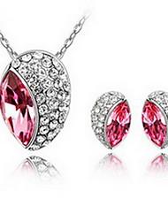 Schmuck 1 Halskette 1 Paar Ohrringe Kristall Party Aleación 1 Set Damen Rot Grün Rosa Hochzeitsgeschenke