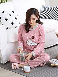 Female long-sleeved cotton pajamas Spring and Autumn Korean casual loose ladies cute cartoon tracksuit jacket