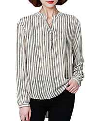 Spring Fall Chiffon Shirt Lapel Long Sleeves Stripe Slim Blouse Fashion Wild Tops