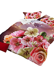 Mingjie 3D Reactive  Pretty  Flowers  Bedding Sets 4 Pcs for Queen Size Contain 1 Duvet Cover 1 Bedsheet 2 Pillowcases from China