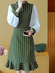 Women's Going out Work Party/Cocktail Vintage Street chic Sophisticated Trumpet/Mermaid Dress,Striped Ruffle Round NeckKnee-length Above