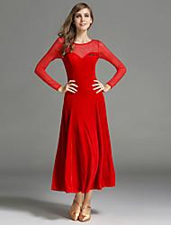 Ballroom Dance Dresses Women's Performance Velvet Draped Splicing 1 Piece Long Sleeve Natural Dress
