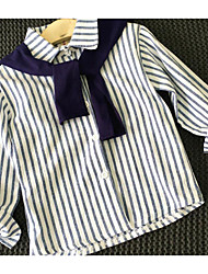 Girl Going out Casual/Daily Striped Blouse,Cotton Bamboo Fiber Cotton Blend Spring Fall Long Sleeve Regular