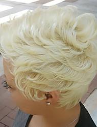 elegante onda natural natural em camadas curta capless cabelo humano perucas 2017