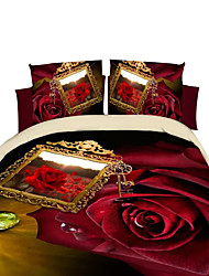Mingjie 3D Reactive Flower  Bedding Sets 4 Pcs for Queen Size Contain 1 Duvet Cover 1 Bedsheet 2 Pillowcases from China