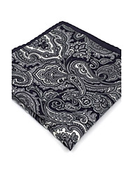 BH30 Men's Pocket Square Gray Paisley 100% Silk Business New Casual Jacquard For Men