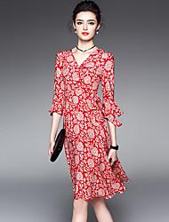 Feminino balanço Vestido, Para Noite Tamanhos Grandes Moda de Rua Estampado Decote V Altura dos Joelhos Manga ¾ Vermelho Poliéster