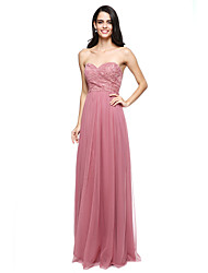 LAN TING BRIDE Floor-length Sweetheart Bridesmaid Dress - Open Back Sleeveless Lace Tulle