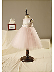 Ball Gown Short / Mini Flower Girl Dress - Organza Sleeveless Jewel with Appliques Crystal Detailing Sash / Ribbon