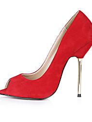 Damen-High Heels-Büro Kleid Lässig-Samt-Stöckelabsatz-Komfort-Rosa Rot Grau Dunkelblau