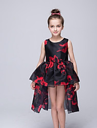 Ball Gown Asymmetrical Flower Girl Dress - Organza Sleeveless Jewel with Pattern / Print