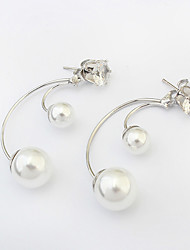 Women's Stud Earrings Fashion European Costume Jewelry Pearl Imitation Pearl Alloy Jewelry For