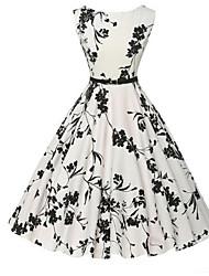 Feminino Bainha balanço Vestido, Formal Festa/Coquetel Férias Vintage Simples Moda de Rua Floral Decote Redondo Altura dos JoelhosSem
