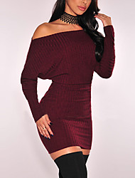 Women's Casual/Daily Club Sexy Simple Knit Off-The-Shoulder Bodycon DressSolid Boat Neck Above Knee Long Sleeve Mid Rise