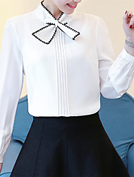 Women's Casual/Daily Work Street chic Spring Fall Blouse,Solid Asymmetrical Long Sleeve Polyester Medium