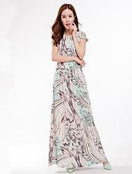 Women's Plus Size Street chic Swing Dress,Print V Neck Maxi Short Sleeve Cotton Polyester Green Spring Summer Mid Rise Micro-elastic