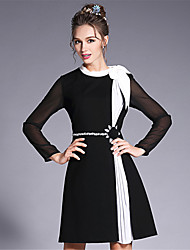 2017 Women's Vintage Elegance Blacl White Bead Color Blocking Patchwork Pleat Chiffon Plus Size Dress