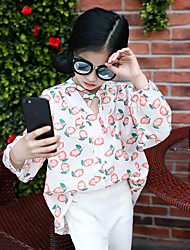 Girl's Fashion Going out Casual/Daily Holiday Cotton Long Sleeve Floral Blouse Children Spring/Fall Loose Tops Tees Shirt