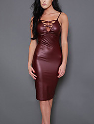 Women's Casual/Daily Party/Cocktail Sexy Simple Bodycon DressSolid Backless Cut Out Strap Knee-length Sleeveless PU Mid Rise Micro-elastic