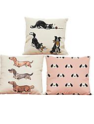 Set of 3  dachshund pattern  Linen Pillowcase Sofa Home Decor Cushion Cover