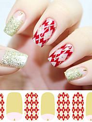1Pcs Red Diamond Grid Nail Tips Stickers Glitter Powder