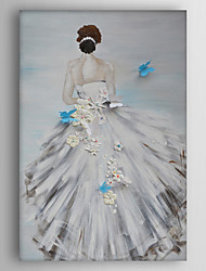 Hand-Painted  a Girl Wearing White Skirt Canvas Oil Painting With Stretcher For Home Decoration Ready to Hang