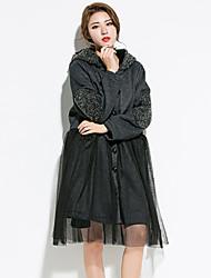 Damen Druck Anspruchsvoll Ausgehen Trench Coat,Herbst Winter Mit Kapuze Langarm Auf Links waschen Trocknen Standard Baumwolle Polyester