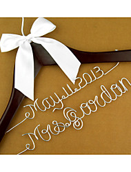 Personalized Wedding Hanger Custom Wedding Dress Hanger  with Bride Name & Date cherry hanger white bow