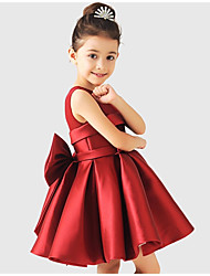 A-line Short / Mini Flower Girl Dress - Matte Satin Sleeveless Jewel with Bow(s) Sash / Ribbon