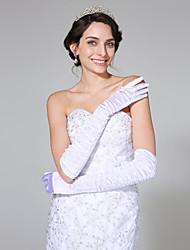 Opernlänge Fingerspitzen Handschuh Satin Brauthandschuhe