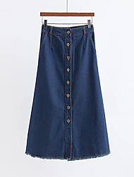 Women's A Line Solid Denim Skirts,Casual/Daily Beach Holiday Simple Cute Mid Rise Midi Button Cotton Rayon Polyester Inelastic Fall