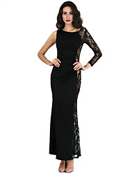 Women's Going out Party/Cocktail Sexy Bodycon Dress,Patchwork Lace Round Neck Maxi Long Sleeve Polyester Black Summer Mid Rise