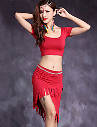 Belly Dance Outfits Women's Performance Modal Tassel(s) 2 Pieces Short Sleeve Natural Top / Skirt
