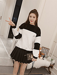 <Sign> Silver Fox thick velvet winter Korean fashion spell color sweater + crimping piece fitted skirts